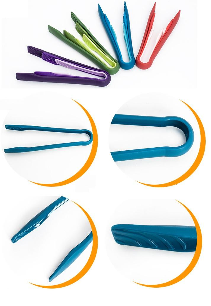 Colorful Food Tongs Set ECO Friendly PP Plastic Snap Fit BPA Free Perfect for Ice Cube, Salad, Cake Bread etc. 6/8/10 inch