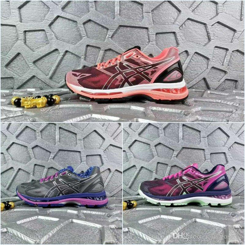 b60a79001c55d 2019 2018 Asics Womens Gel Nimbus 19 Originals Running Shoes T750N 4987  Violet Orange Pink Grey Basketball Shoes Boots Sport Sneakers Size 36 39  From ...
