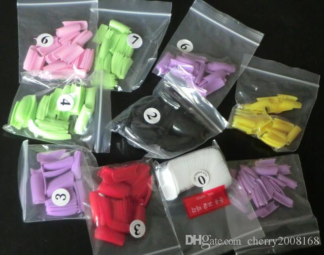 / påse 5bags blandad färg naturlig fransk falska spik tips akryl nagel franska falska tips
