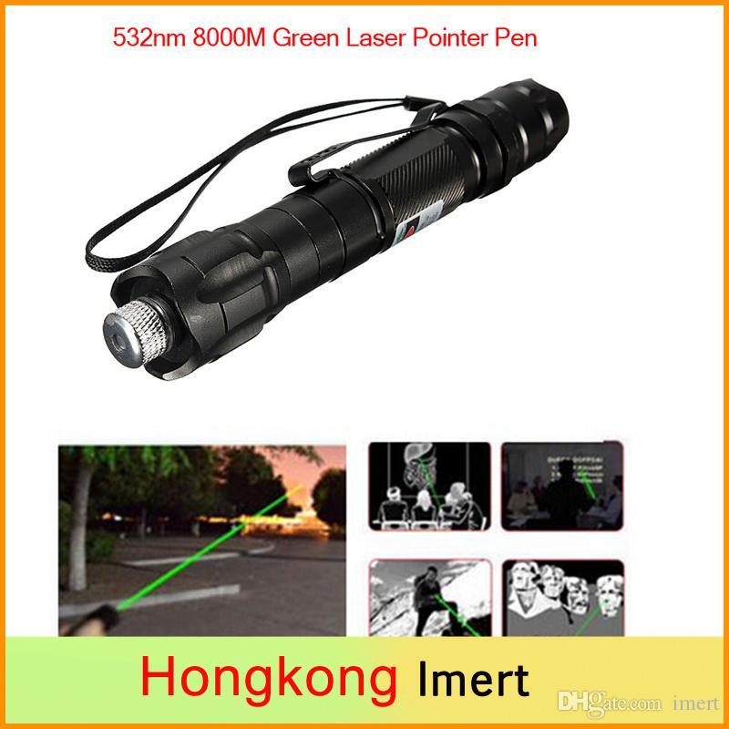 Promotion! Brand New Aerometal Green Laser Pointer Pen Beam 532nm 8000M Super Range + Light Star Cap High Power Laser Pointers