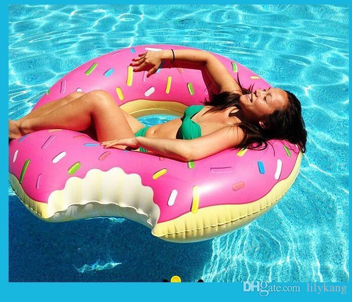 60cm crianças infláveis nadar piscina flutuante morango Donut desportos aquáticos anel do flutuador swimg anel livre crianças de envio nadar brinquedo piscina