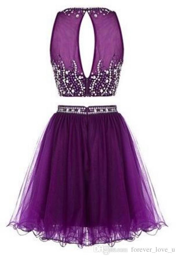 Impresionante corto de dos piezas de vestido de fiesta Negro púrpura de tul vestido de regreso a casa Keyhole Beads cremallera de la espalda cristales Vestidos de fiesta