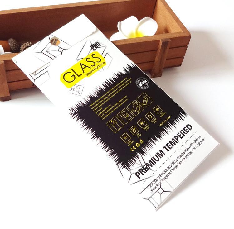 air-bubble-proof bom toque-sentimento embalagem de papel para filme protetor de tela de vidro temperado para iphone 7 7 plus para lg x poder k210
