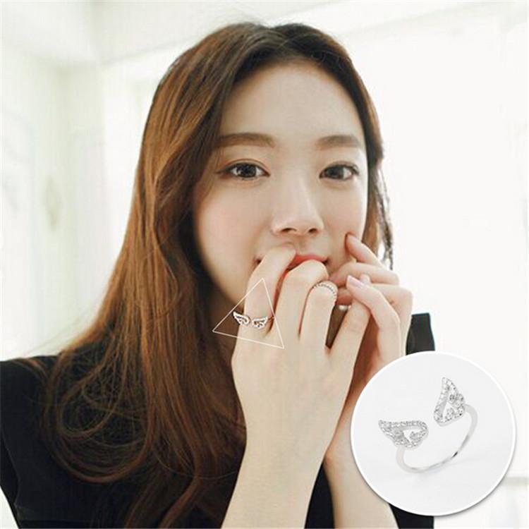 925 подходит европейский ювелирные изделия Циркон Крылья Ангела серебряные кольца Марка мода палец кольца высокое качество открытые женщины кольцо противоаллергические 1.51 г