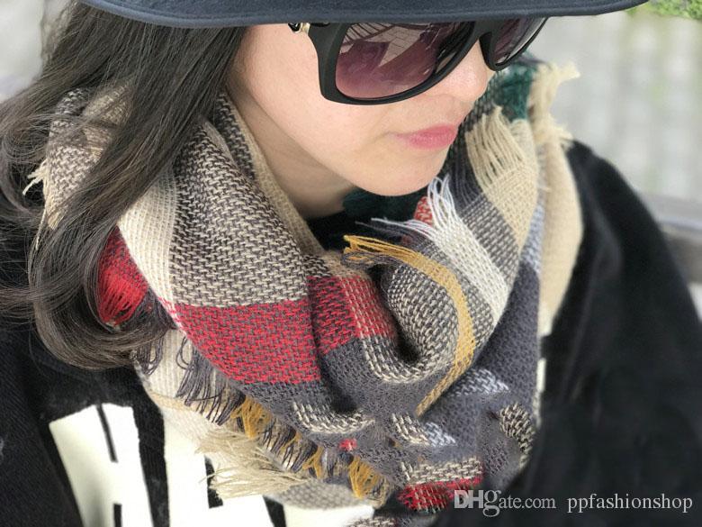87x50cm пледы бесконечность шарфы сетки петли шарф одеяла тартан негабаритных проверить Шаль решетки обертывания мода бахромой кашемир пашмины