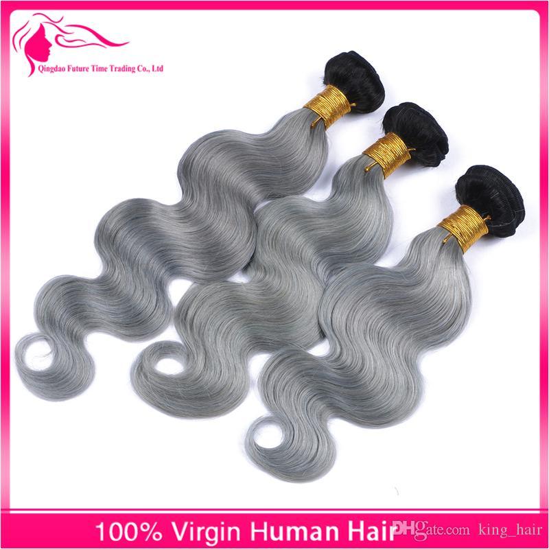 13x4 Full Lace Frontals avec des paquets de cheveux de vague de corps de vierge brésilienne 9A Ombre # 1B / gris deux tons cheveux tisse avec dentelle frontale
