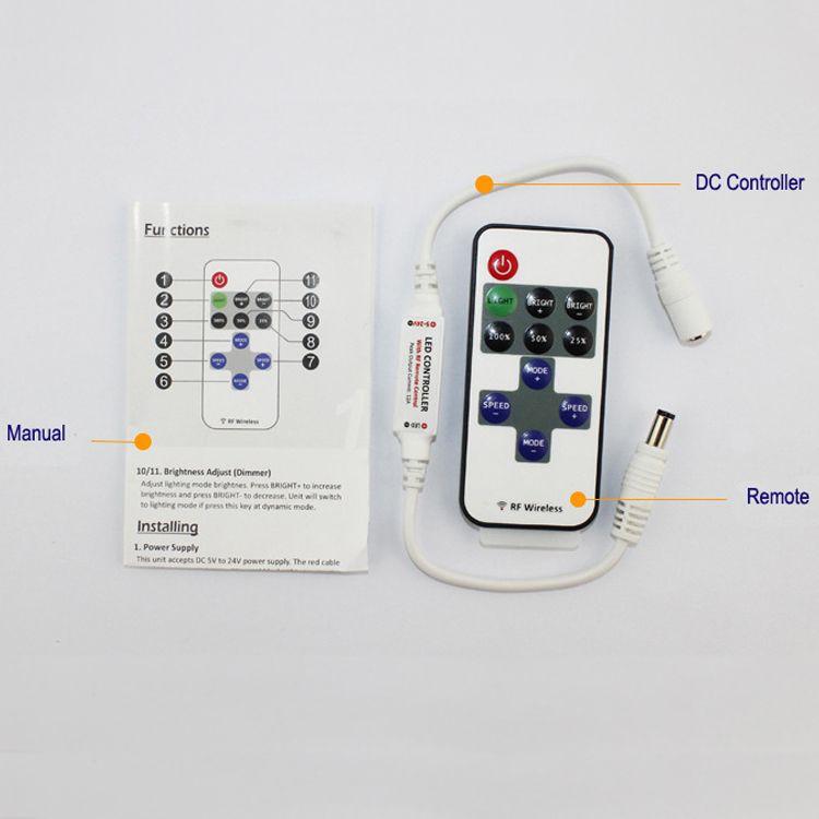 Led Dimmer Mini Kontrol Kablosuz RF Uzaktan Kumanda 2017 Sıcak Satış Tek Renk için 5050 3528 Şerit Işık 11 tuşları Dimmer