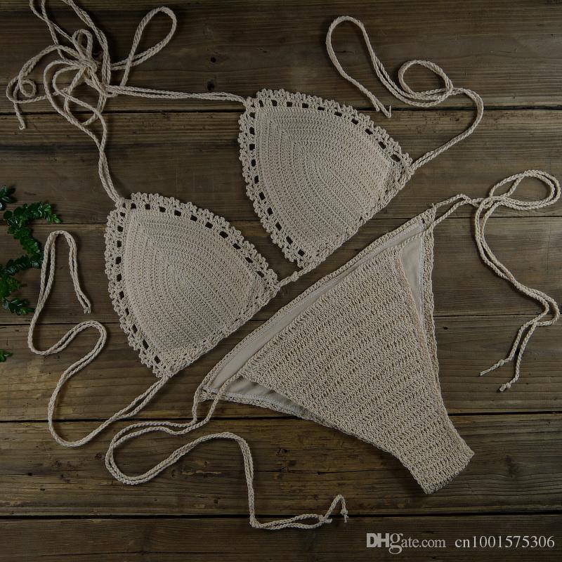 Bikini de ganchillo Halter Bra acolchado Traje de baño - Traje de baño atractivo bohemio de las mujeres - Conjuntos de bikini hechos a mano de la vendimia