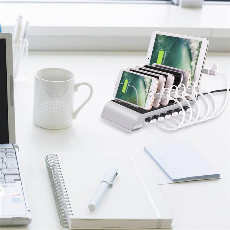 6 Port 10.2A USB Ladestation Universal Desktop Tablet Smartphone Multigerät Hub Ladestation Halter Ständer für iPhone iPad Galaxy Quick