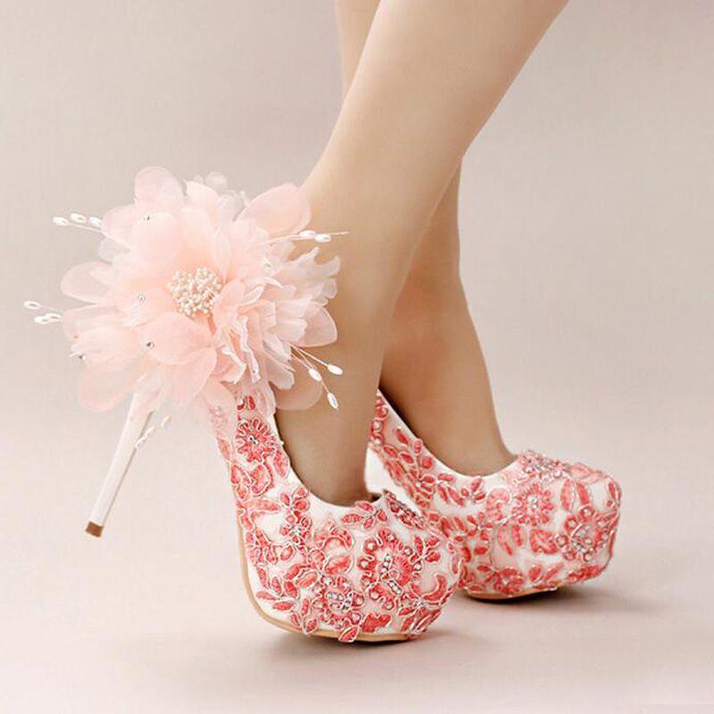 Handmade Lace Appliques Wedding shoes Pink Flower Bridal Dress Shoes Women Beautiful High Heel Shoes Platform Bridesmaid Shoes