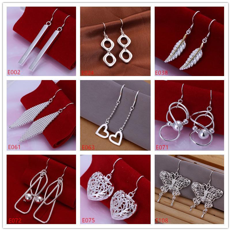 Best gift women's sterling silver plated earring mixed style EME19,wholesale fashion plate 925 silver Dangle Chandelier earrings