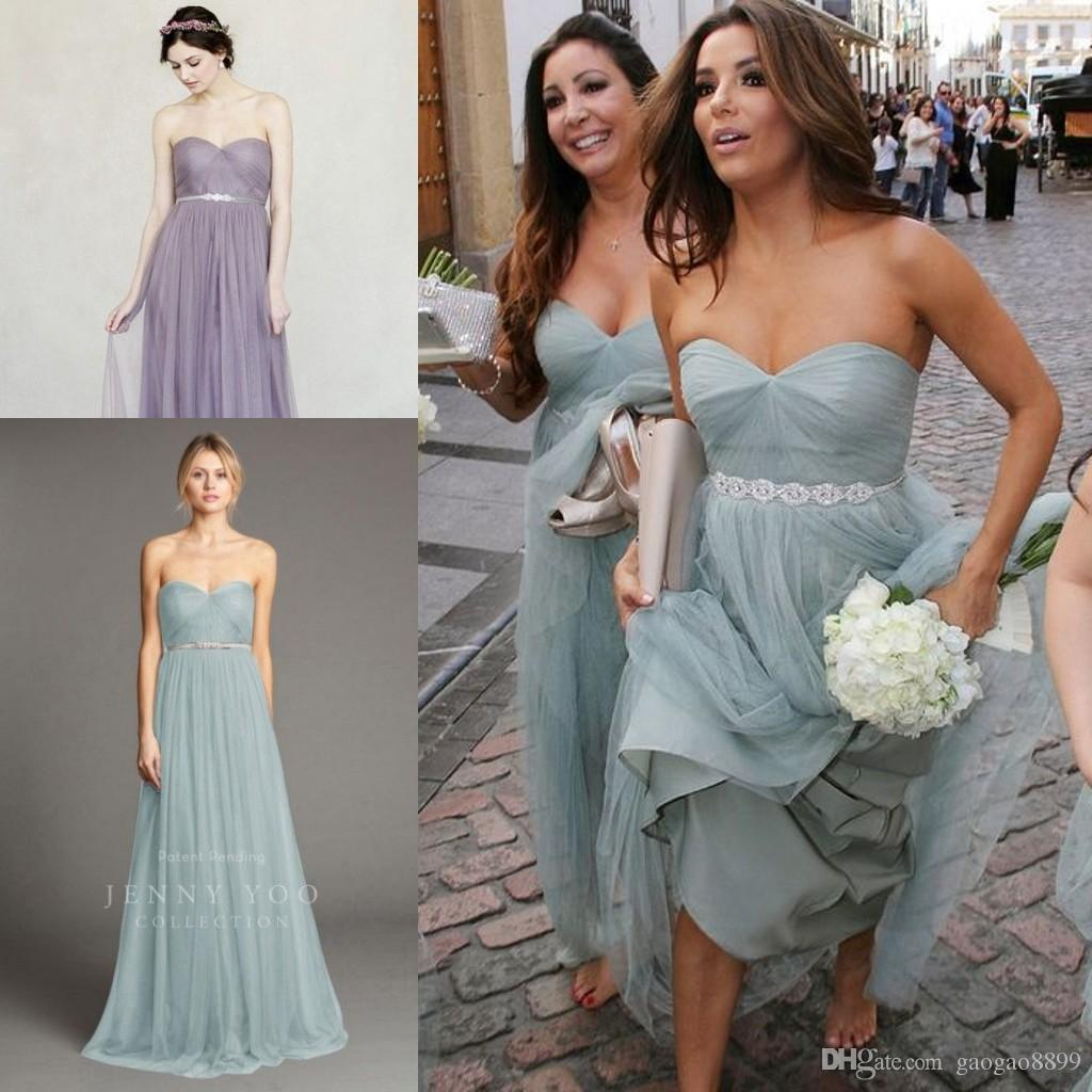 Eva longoria dusty blue strapless beach boho cheap bridesmaid eva longoria dusty blue strapless beach boho cheap bridesmaid dress with beaded sash maid of honor wedding party gown jenny yoo annabelle black chiffon ombrellifo Choice Image