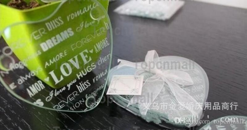 Wholesale Wedding Door Gifts Heart Love Clear Glass Cup Coaster Tablemat Cup Mat Casamento Kids Birthday party
