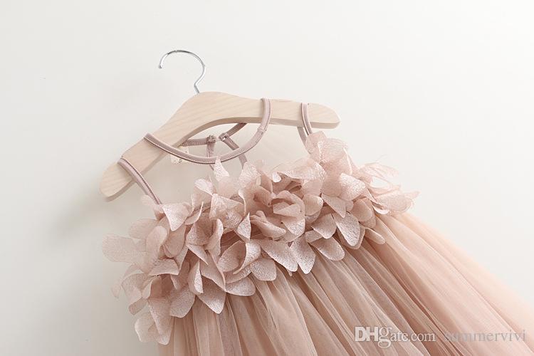 Filles princesse robe d'été nouveaux enfants dentelle gaze pétales tulle tutu robe enfants gilet robe de soirée rose blanc filles vêtements A8677