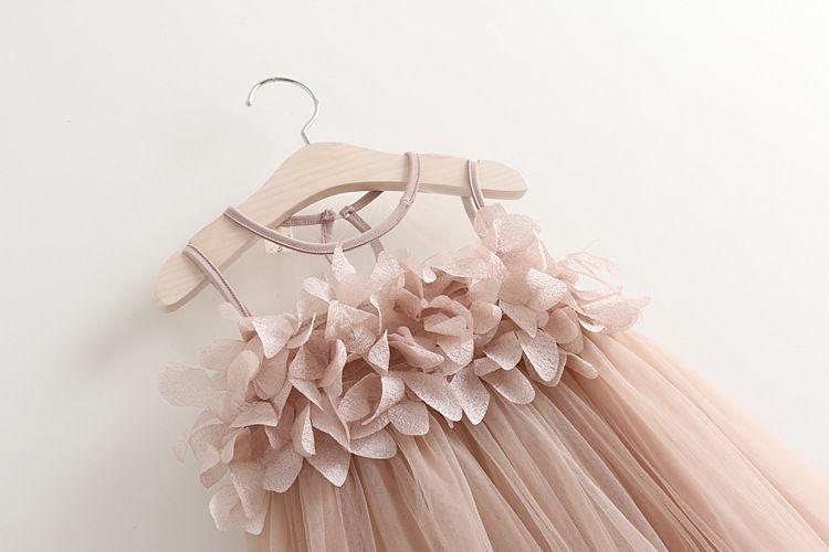 Kızlar prenses elbise yaz yeni çocuk dantel tül yaprakları tül tutu elbise çocuklar yelek parti elbise pembe beyaz kız elbise A8677