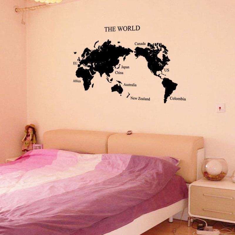 Creative Cartoon The World Map Sticker Design Wall Sticker For