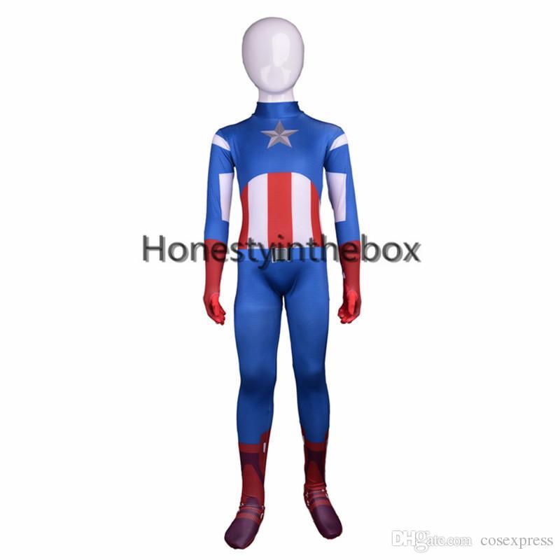 ebe5fcff23d Brand New Blue Lycra Spandex Full Body Zentai Suit Superhero Children  Captain America Bodysuit Costume For Halloween Online with  28.58 Piece on  ...