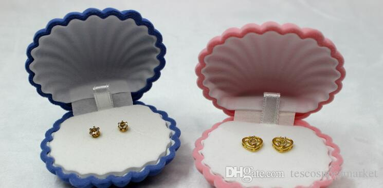 Creative Shell Shaped Flannelette Earring Packaging Jewelry Storage Box Gift Pendant Jewellery Stand Display Box