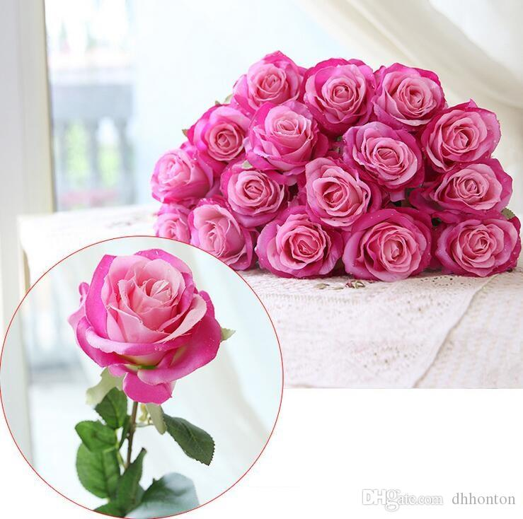 Water drop Rose Silk Craft Flowers real look Flowers For Wedding home Decoration Cheap Sale HR019