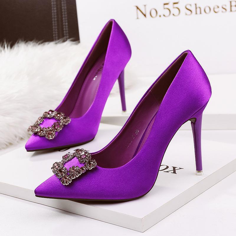 Compre Rhinestone Tacones Altos Señora Vestido Zapatos Pu Mujer De ...