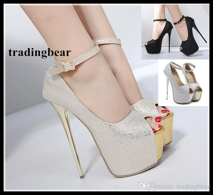 a496fd57e467 Acheter Cadeau De Noël Glitter Robe De Bal Chaussures De Bal 16cm Sexy Talons  Hauts Plateforme Pompes Femmes Taille 35 À 40 De  31.58 Du Tradingbear ...