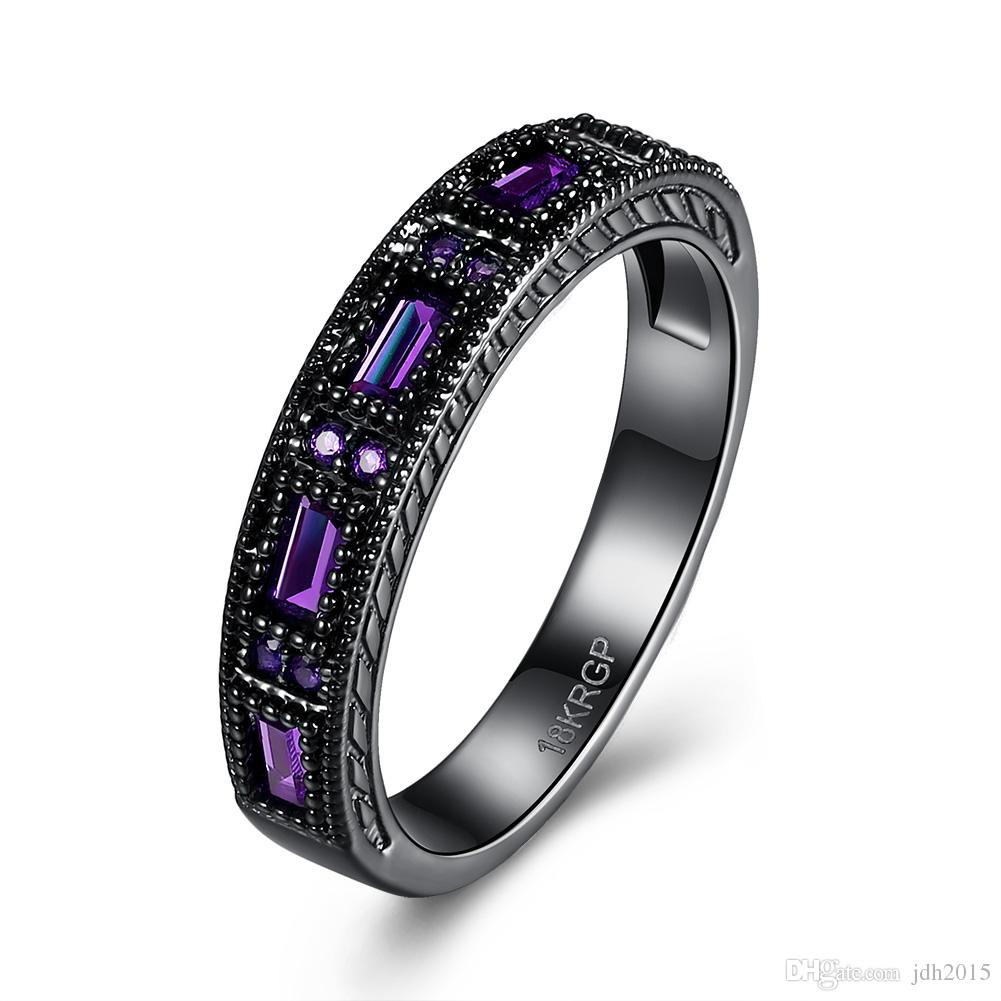Mysterious Blue/Green/Purple Stone Channel Set Black Gold Plated Band Ring
