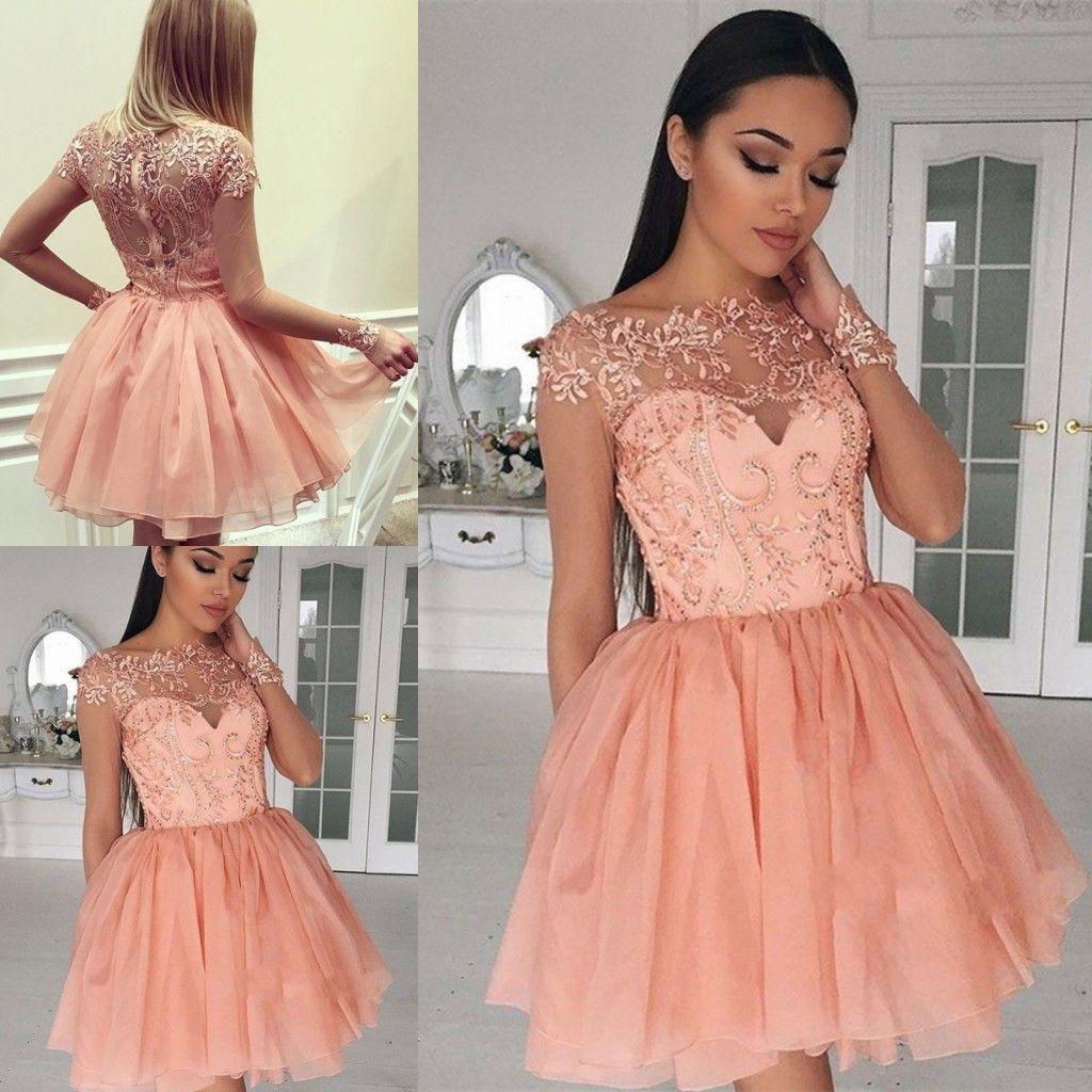 Nett Rosa 2019 Homecoming Kleider A-linie Cap Sleeves Knie Länge Tüll Spitze Perlen Elegante Cocktail Kleider Weddings & Events