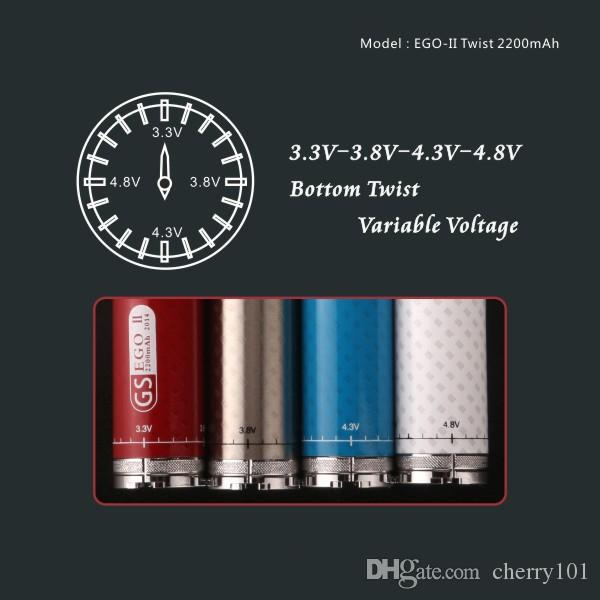 Free DHL Shipping GS EGO 2 Twist Battery EGO II Twisted VV Battery 3.3v-4.8v 2200mah