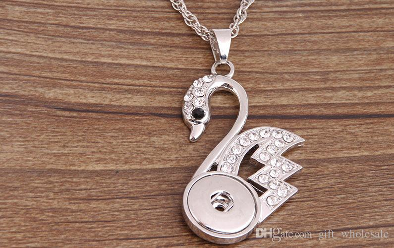 2016 White System Rhinestones NOOSA Vintage Animal Pattern Button Pendant Necklace Ginger DIY Snap Jewelry swan peacock duck crocodile