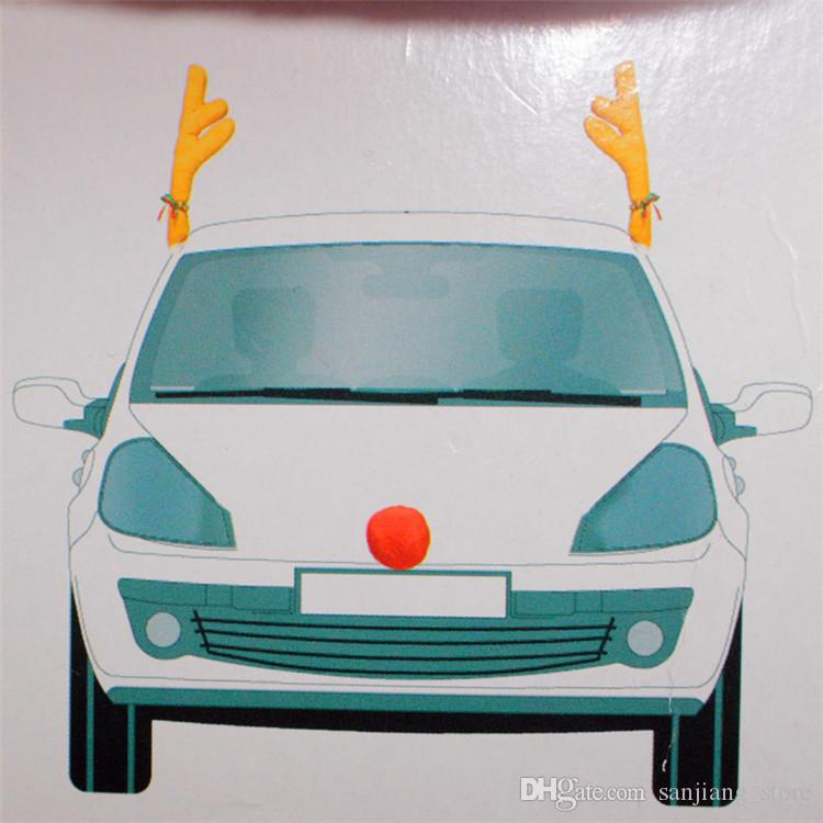Christmas Reindeer Antlers Red Nose Car decoration set With Christmas Bells New Reindeer Antlers Car Costume Horn for all vehicls cars HOT