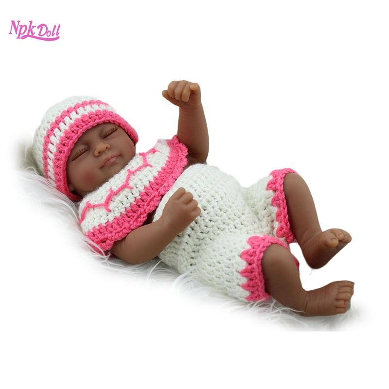 Compre 10 Pulgadas Afroamericano Del Bebé Negro Muñeca Renacida Mini ...