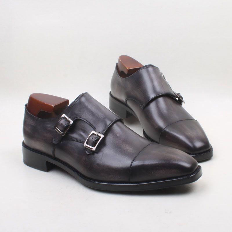 c9e3cfc0 Men Dress shoes Men's shoes Monk shoes Custom handmade shoes Genuine calf  leather Color Dark grey Double buckles HD-228