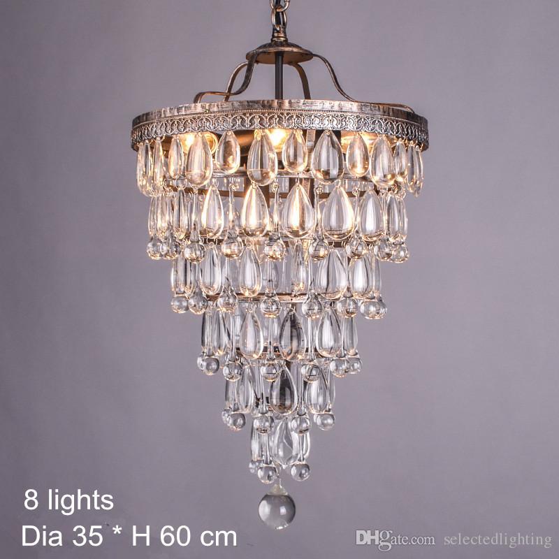 Retro Vintage Lustres de Cristal Iluminação Redonda Sombra E14 Cristal Luminária Luminária Sala de estar Luminária