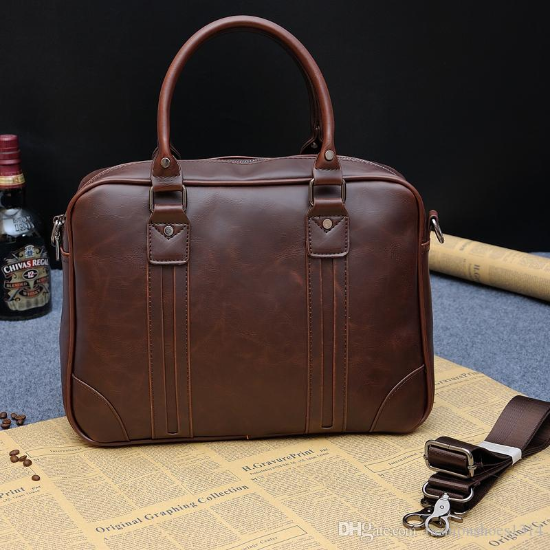 000ddcc60a New Fashion Genuine Leather Briefcase Business Shoulder Bag Men Top Crazy  Horse Leather Laptop Tote Bag Men's Messenger Travel Bags Han