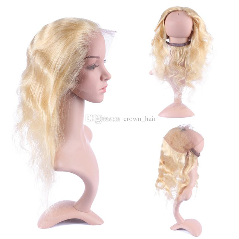 New Fashion 360 Lace Frontal Full Lace Band Frontal Brazilian Blonde 613 Body Wave 360 Lace Frontal Closure With Baby Hair 13*4*2
