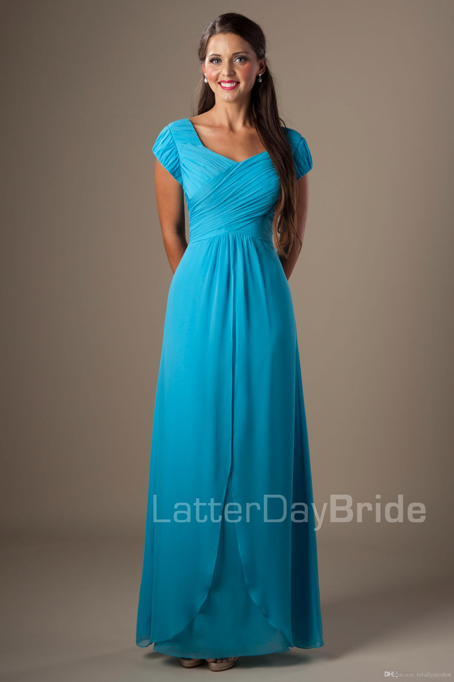 Blue Chiffon Modest Bridesmaid Dresses With Short Sleeves Long Floor ...