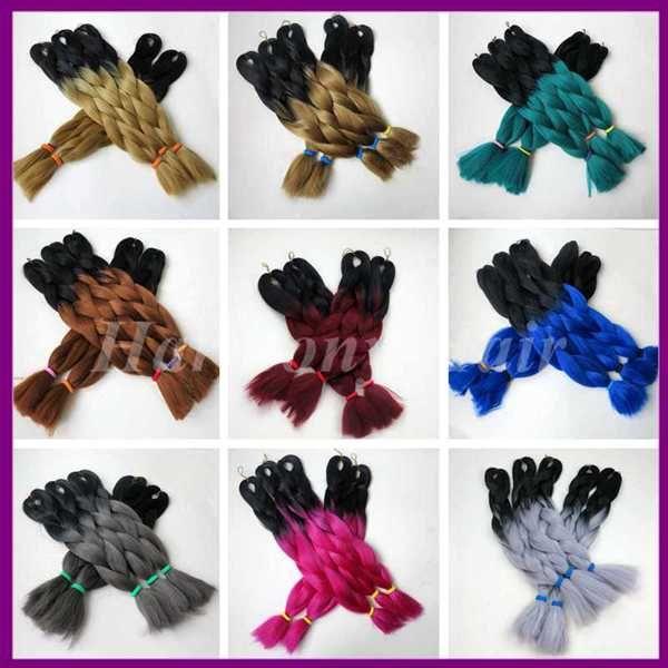 "Kanekalon jumbo braiding hair black purple ombre braiding hair for small box braids and twist braids synthetic jumbo braids 24"" 100g"