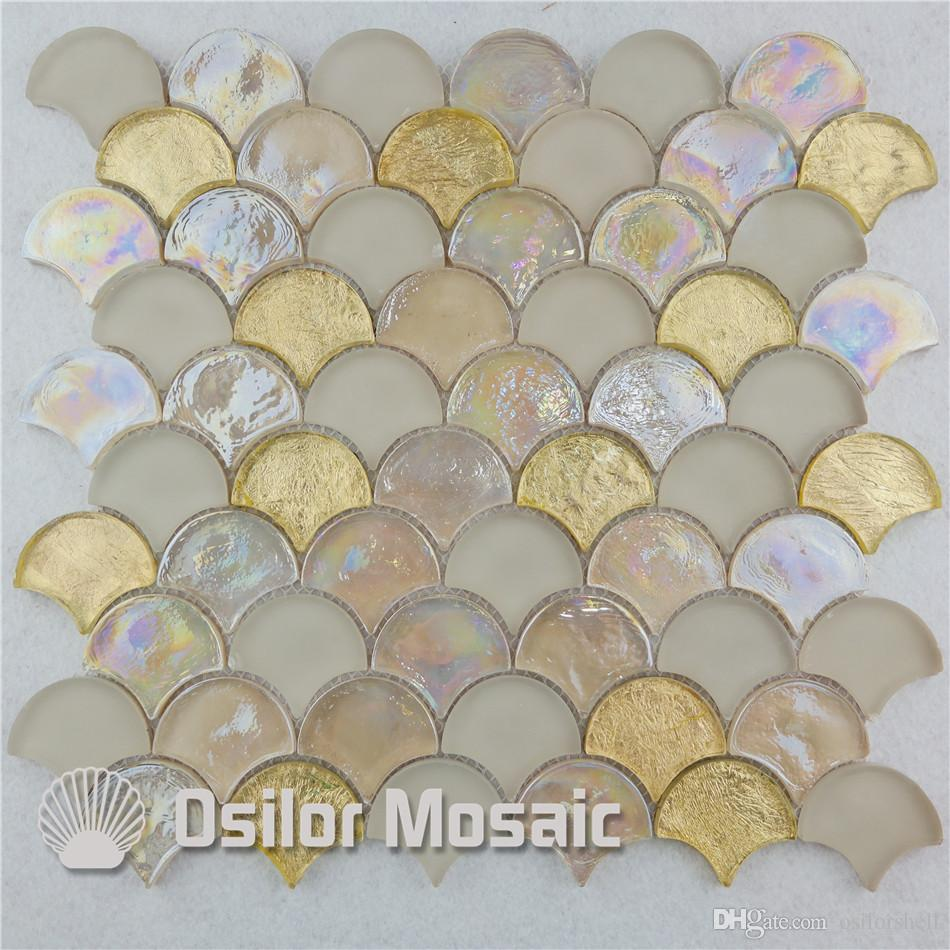 2017 fan shaped white and yellow glass mosaic tile for interior
