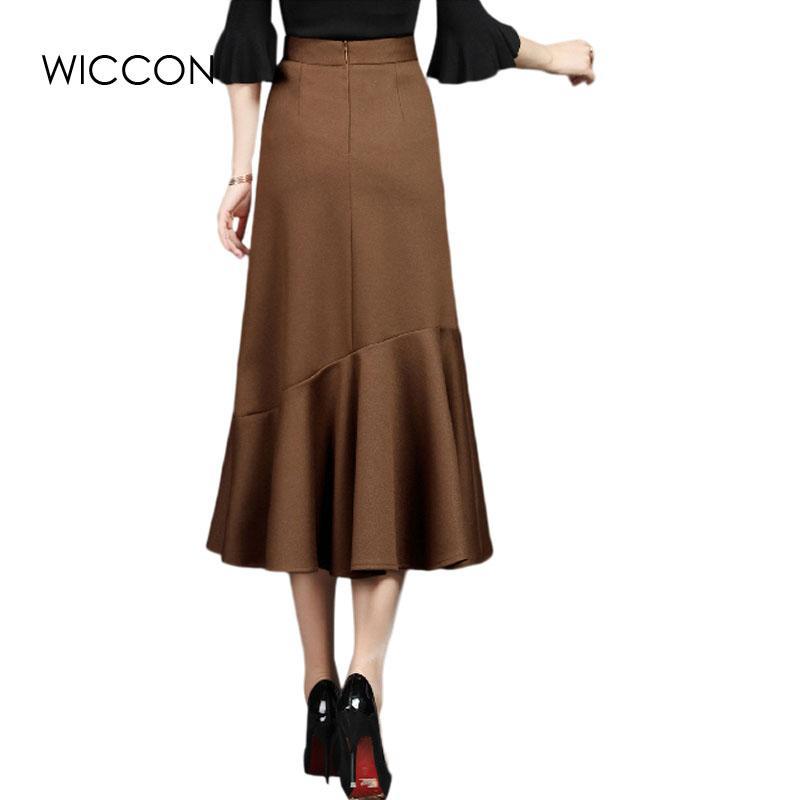 Elegante falda paquete de invierno cadera falda trompeta sirena cintura alta vintage plisado otoño OL mujer delgada falda sexy WICCON
