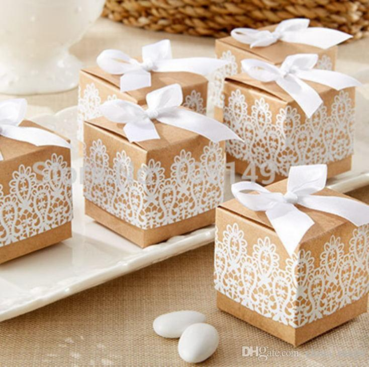 High grade kraft paper, candy boxes, wedding supplies, candy boxes, gift boxes, ribbons, postage free Gift Wrap