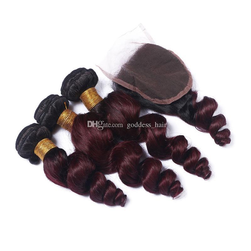 Ombre Color # 1B / 99J Fasci di capelli sciolti Wave con chiusura in pizzo con i capelli del bambino chiusura in pizzo bordeaux con vino rosso 9A estensioni dei capelli