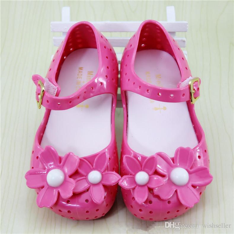 여름 아기 신발 키즈 소녀 샌들 달콤한 꽃 플랫 플라스틱 샌들 어린이 신발 젤리 신발 소프트 젤리 샌들