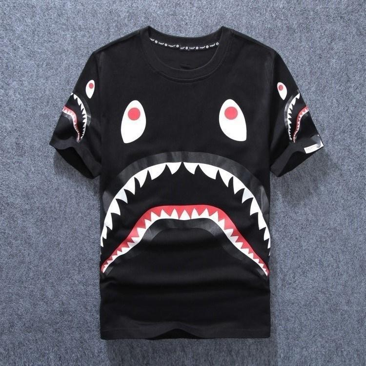 40ba21af 2017 HOT SALE New Men'S Clothing Wear Shark Mouth Printing T Shirts For Men  Round Neck Short T Shirt Fashion Tshirts Brands Awesome Tee Shirts Teet  Shirts ...