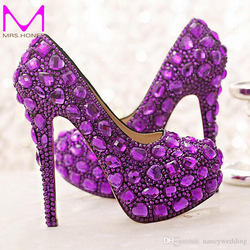 a1bad066116 Purple Crystal Bridal Shoes High Heel Platforms Handmade Beautiful  Rhinestone Wedding Party Shoes Luxury Graudation Prom Pumps