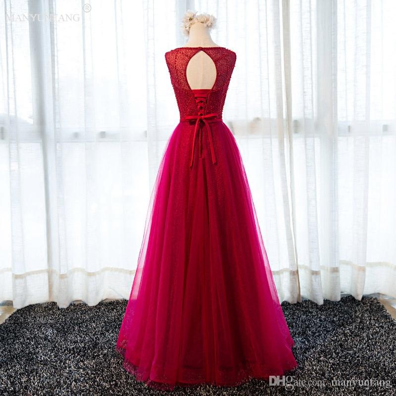 Fashionable Vestidos 2017 Hot Wine Red Evening Dress Lace Embroidery A Line Sleeveless Floor Length Sexy Back Tulle Formal Party Prom Gowns
