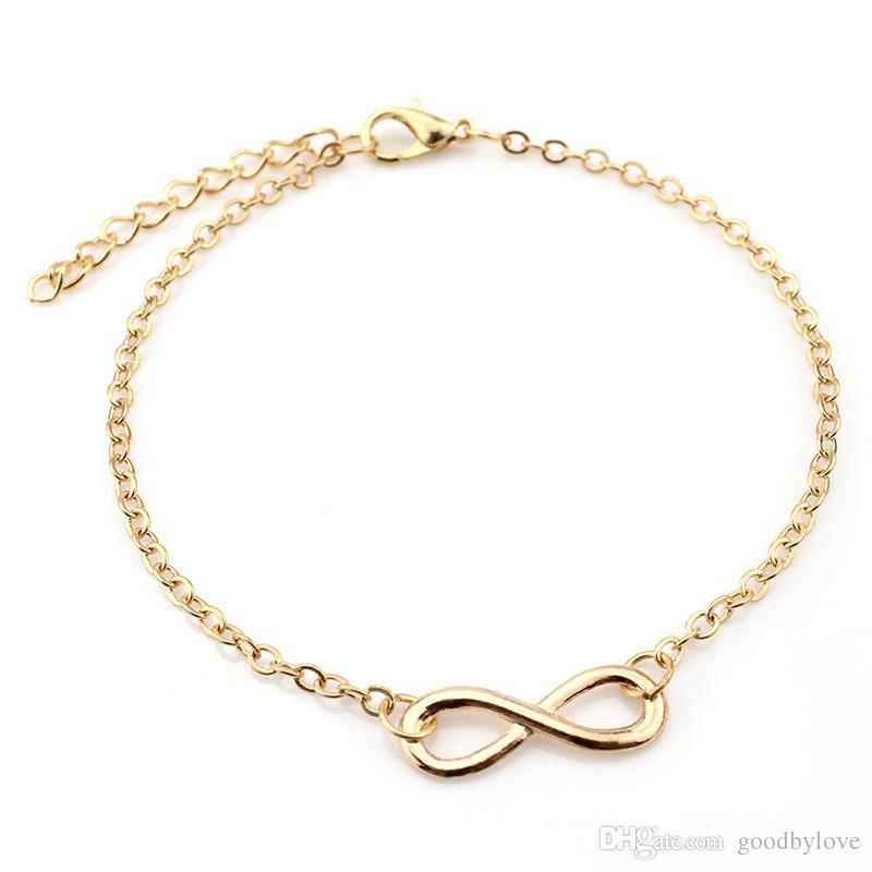 Pie joyería 18 K oro amarillo o blanco plateado llano 8 forma infinito cadena tobillera pulsera para mujeres mejor regalo