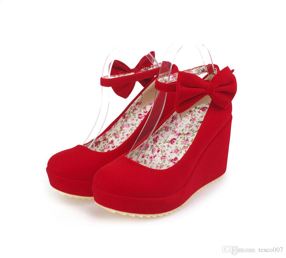 Hot Sales Red Matte Velvet Bridal Wedding Dress Shoes Bow Wedges ...