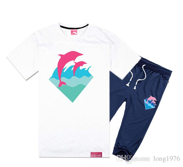 Pink Dolphin Short Sleeved Pant Suit Cotton T Shirts Short Set ...