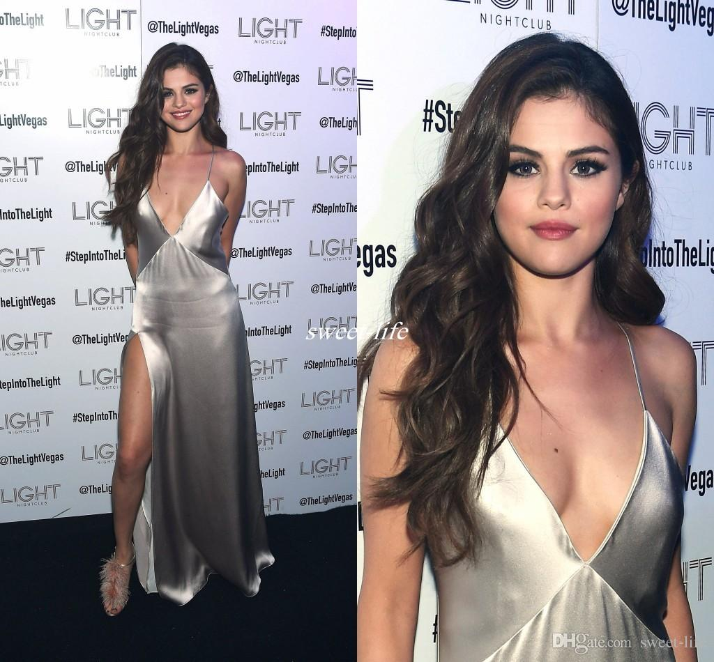 91c8d4d157 Sexy Selena Gomez Red Carpet Celebrity Dresses Deep V Neck Spaghetti Straps  High Side Slit Silver Satin Cheap Prom Evening Party Gowns 2016 Formal Dress  ...