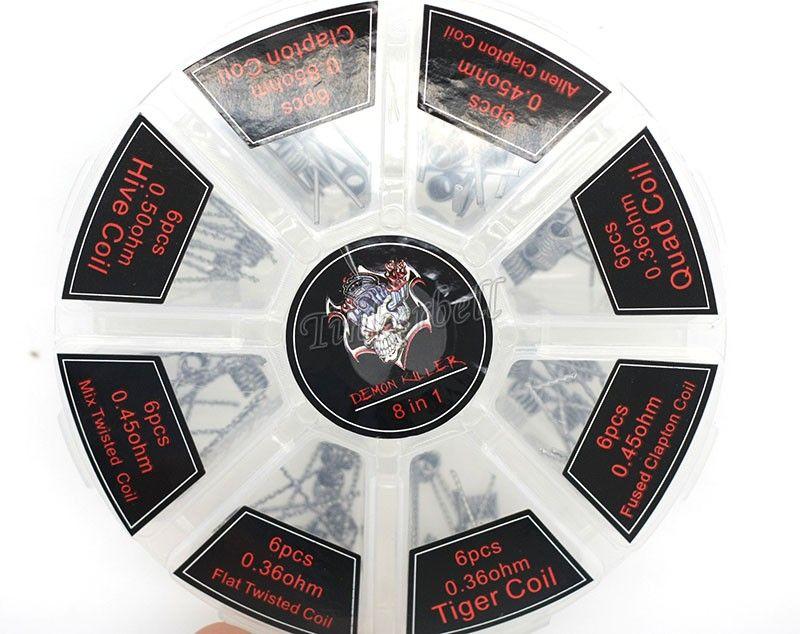 8 in 1 악마 킬러 와이어 Prebuilt Coils 클랩튼 쿼드 타이거 하이브 Alien Fused Clapton 믹스 Twisted Coil fit DIY Atomizer